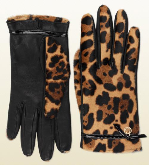 Gucci Women's Jaguar Printed Leather Gloves