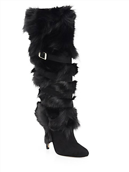 Jimmy Choo Bardo Fox Fur and Suede Tall Boots