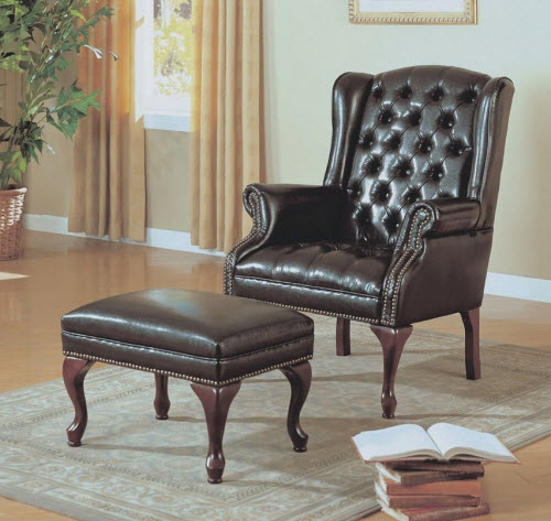 Monarch Specialties Leather Look Wing Chair And Ottoman