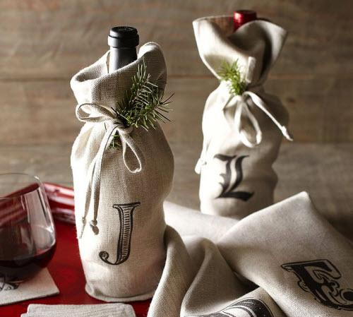 Pottery Barn Textured Linen Wine Bag