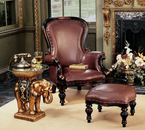 Victorian Wing Chair and Ottoman