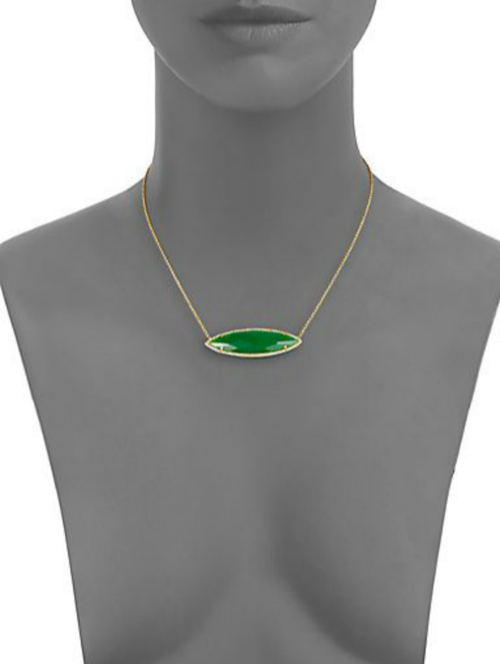 MIJA Jade & White Sapphire Marquis Pendant Necklace 2