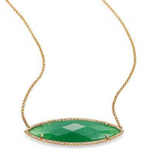 MIJA Jade & White Sapphire Marquis Pendant Necklace