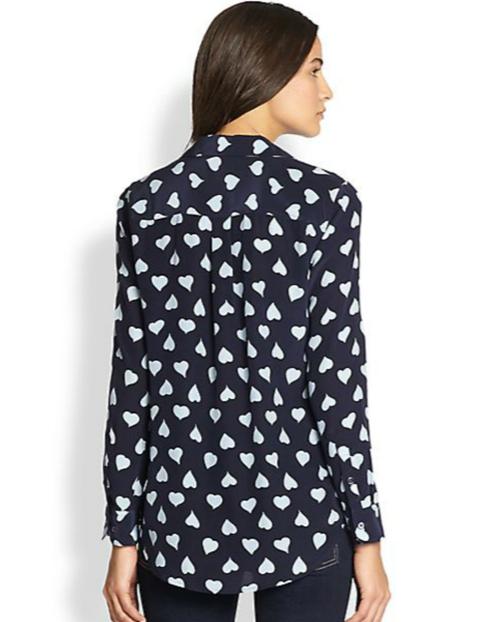 Equipment Slim Signature Silk Heart-Print Shirt 2