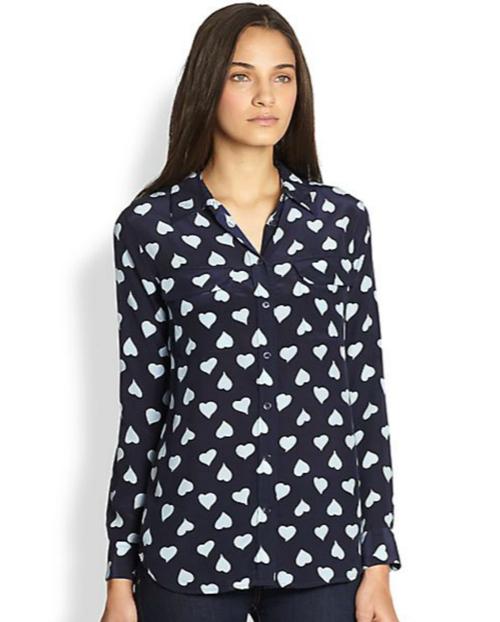 Equipment Slim Signature Silk Heart-Print Shirt