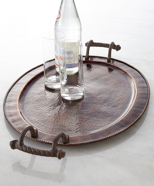 GG Collection Large Oval Antique Copper Tray