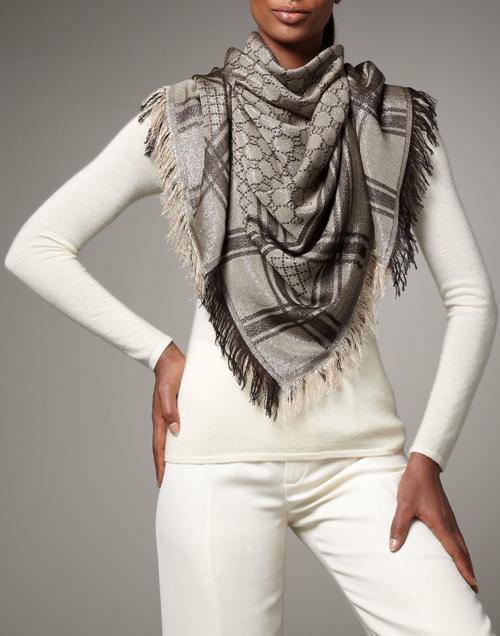 Gucci Shimmer GG Pattern Shawl