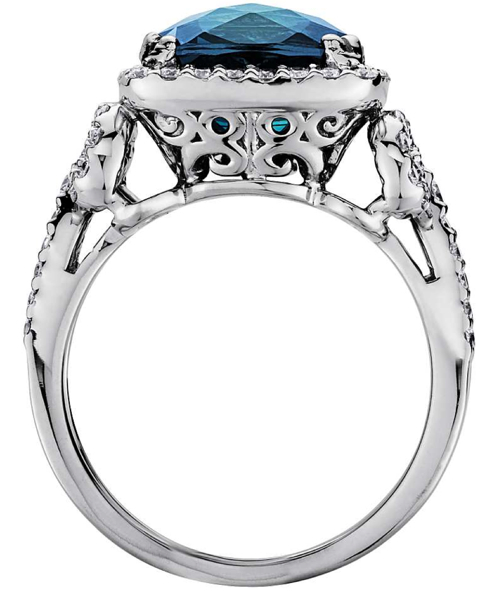 London Blue Topaz and Diamond Scroll Ring in 14k White Gold 2