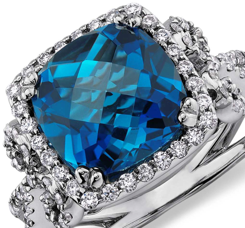 London Blue Topaz and Diamond Scroll Ring in 14k White Gold 3