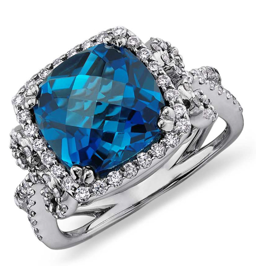 London Blue Topaz and Diamond Scroll Ring in 14k White Gold