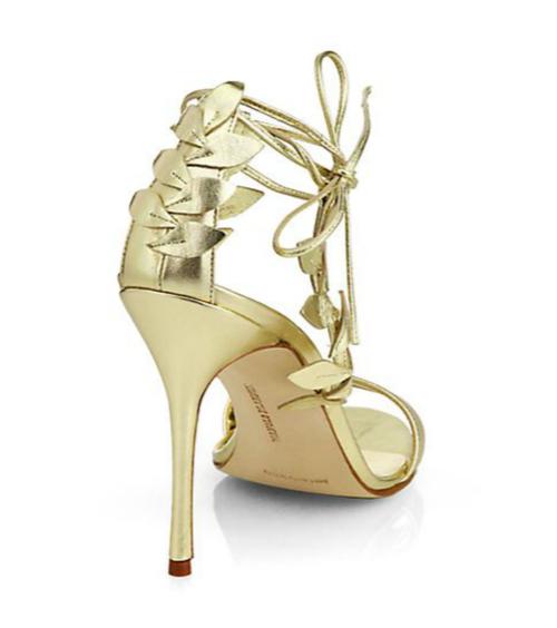 Manolo Blahnik Bolabasan Metallic Leather Leaf Sandals 2