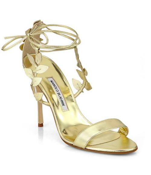 Manolo Blahnik Bolabasan Metallic Leather Leaf Sandals