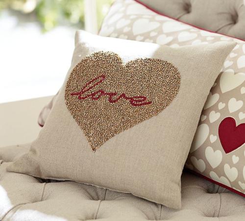 Decorative Valentine Pillows : Valentine s Day Decor: Pottery Barn Love Beaded Pillow