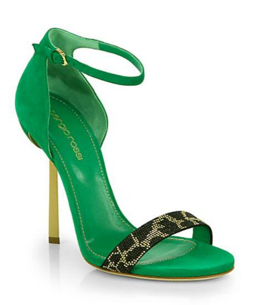 Sergio Rossi Beaded Leopard-Print Suede Sandals