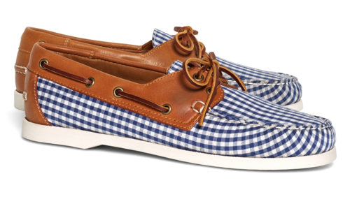 Brooks Brothers Gingham Boat Shoes