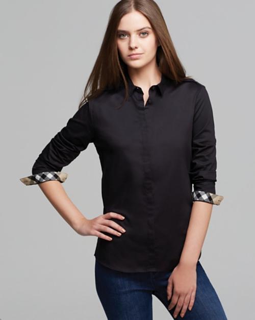 Burberry Brit Check Cuff Button Down Shirt