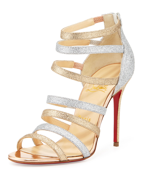 Christian Louboutin Mariniere Red Sole Glitter Cage Bootie