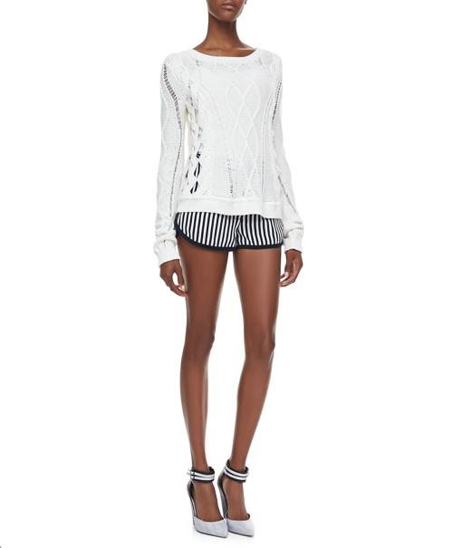 Diane von Furstenberg Tiffany Striped Silk Shorts 2