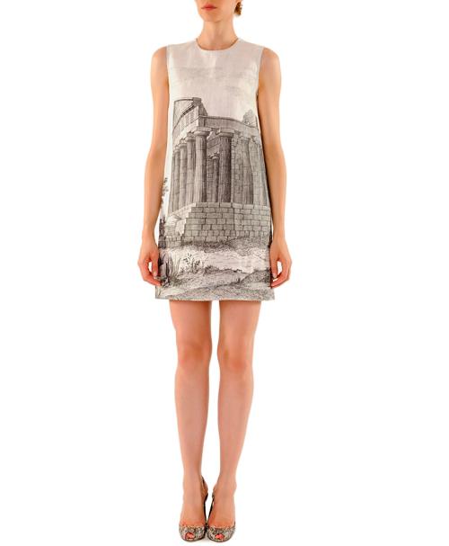 Dolce & Gabbana Ancient Ruin-Printed Linen Mini Shift Dress