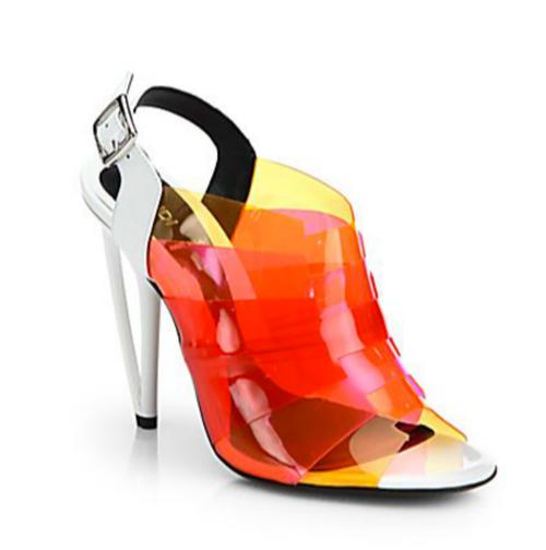 Fendi Multicolored PVC Slingback Sandals