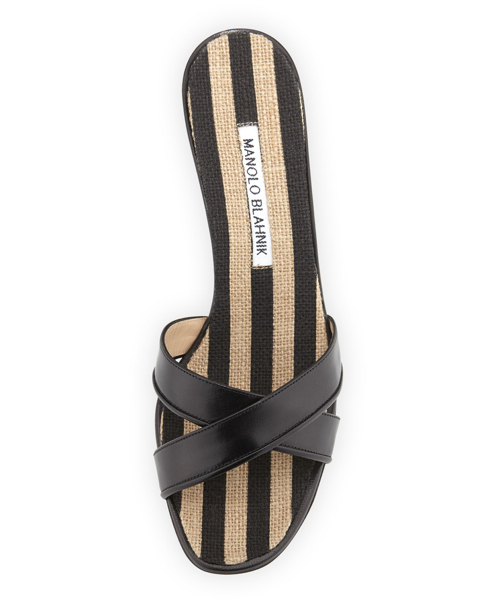 Manolo Blahnik Sacha Striped Wedge Slide 2