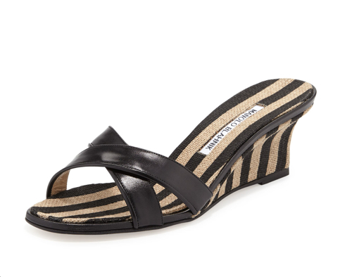 Manolo Blahnik Sacha Striped Wedge Slide