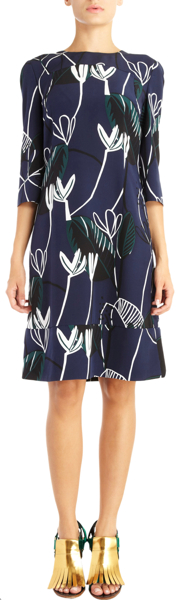 Marni Foliage Print A-Line Dress