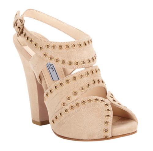 Prada Studded Slingback Platform Sandals