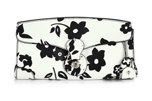 Ralph Lauren Collection Ricky Printed Leather Clutch