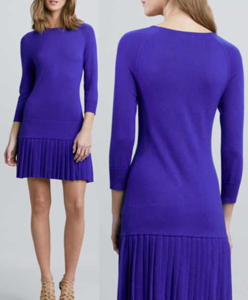 Shoshanna Pleated Drop-Waist Knit Dress