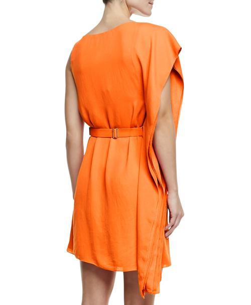 Halston Heritage Asymmetric Drape Sleeve Dress with Belt 2