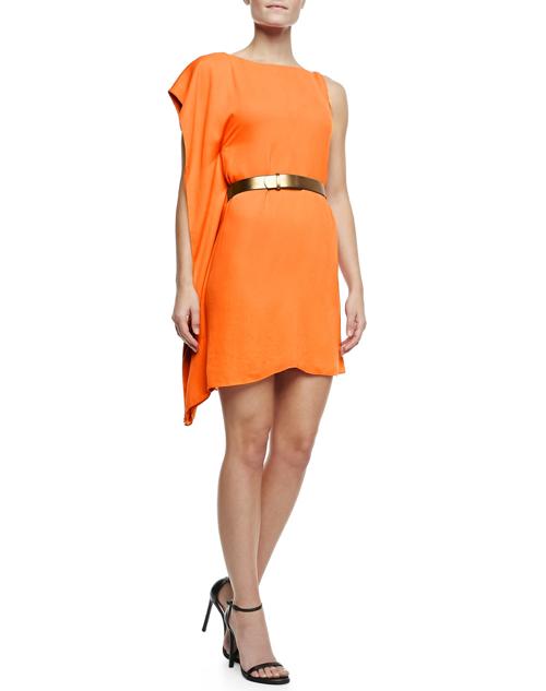Halston Heritage Asymmetric Drape Sleeve Dress with Belt