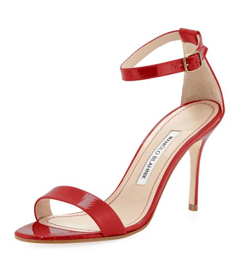 Manolo Blahnik Chaos Patent Ankle-Strap Sandal