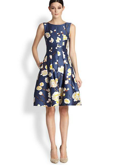 Oscar de la Renta Cherry Blossom-Print Radzmir Dress