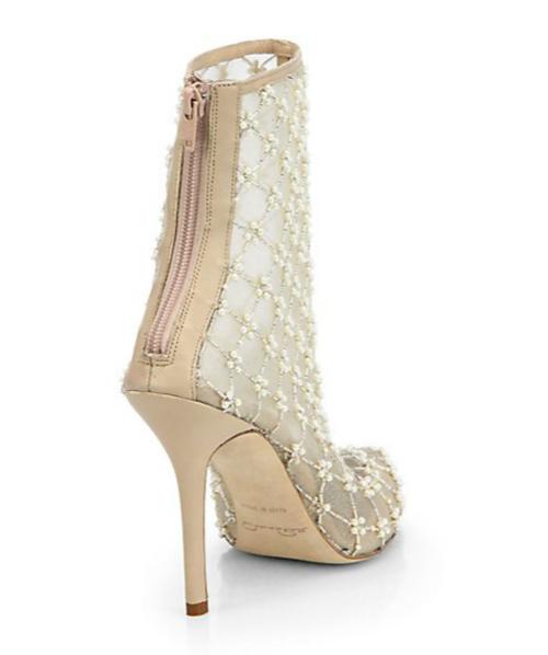 Oscar de la Renta Pearlette Beaded Mesh & Leather Ankle Boots 2