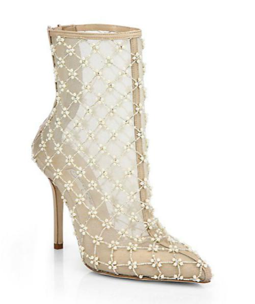 Oscar de la Renta Pearlette Beaded Mesh & Leather Ankle Boots