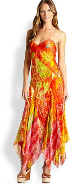 Ralph Lauren Blue Label Martina Printed Handkerchief Dress