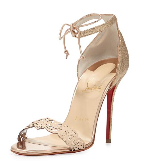 Christian Louboutin Valnina Glitter Red Sole Sandal