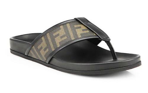 Fendi Zucca Logo Thong Sandals