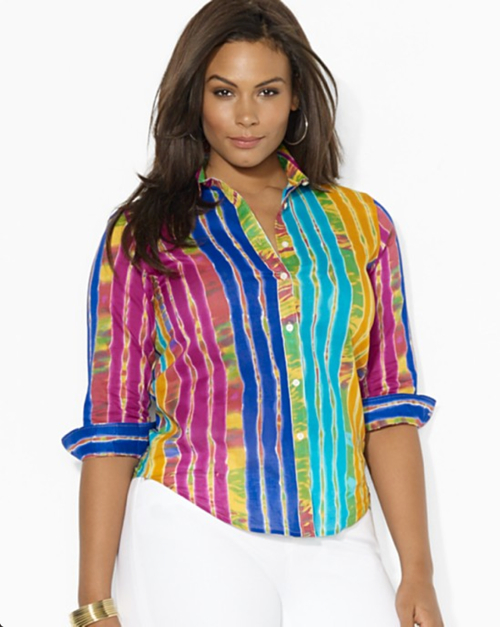 Lauren Ralph Lauren Plus Printed Button Down Shirt