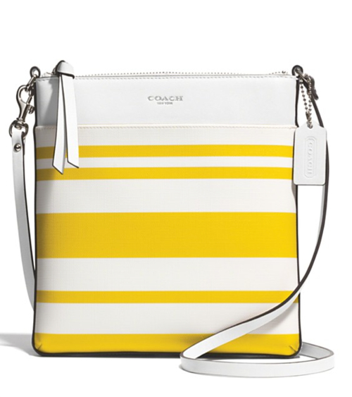 Coach Bleecker North:South Swingpack in Striped Coated Canvas