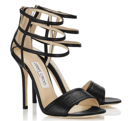 Jimmy Choo Tolka Black Nappa Leather and Stingray Sandals