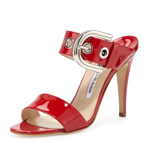 Manolo Blahnik Bila Double-Band Patent Sandal