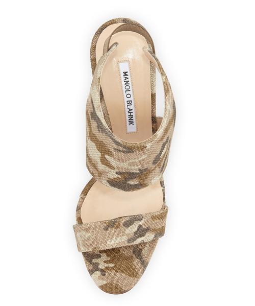 Manolo Blahnik Loyal Linen Camo Canvas Sandal 2