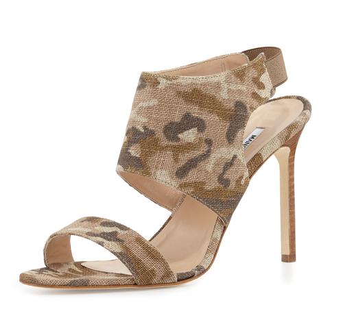Manolo Blahnik Loyal Linen Camo Canvas Sandal
