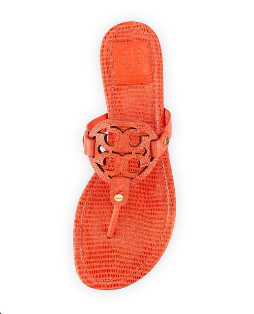 Tory Burch Miller Lizard-Print Logo Thong Sandal 2