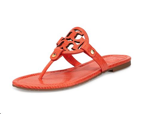 Tory Burch Miller Lizard-Print Logo Thong Sandal