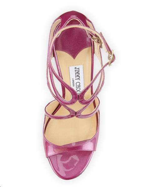 Jimmy Choo Lang Shimmer Patent Strappy Sandal 2