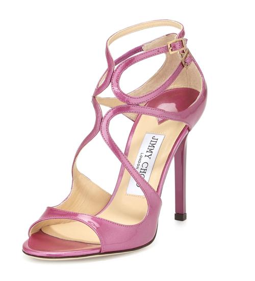 Jimmy Choo Lang Shimmer Patent Strappy Sandal