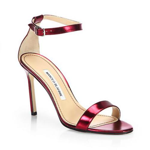Manolo Blahnik Chaos Metallic Patent Leather Ankle-Strap Sandals 3